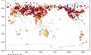 Figuur 2: trend in de temperatuur van de koudste dag van het jaar als veelvoud van de wereldgemiddelde opwarming. Bron: NOAA/NCEI/GHCN-D stations met minimaal 50 jaar data.