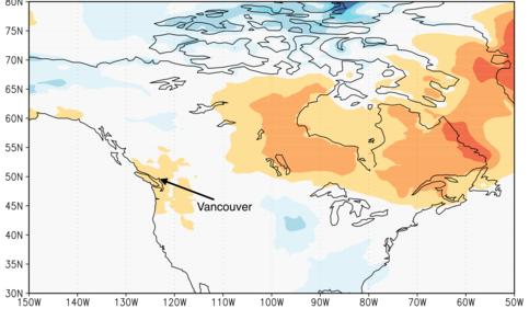 Figuur 2: Temperatuurafwijking in januari 2010, voorafgaand aan de Winterspelen in Vancouver. Data: Merra reanalysis.