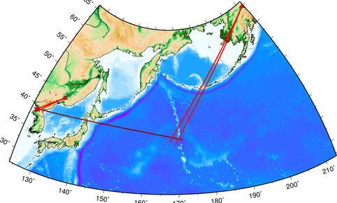 Geografische kaart met de lanceringslocatie