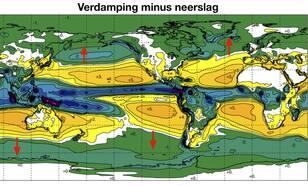 Kaart van neerslag minus verdamping
