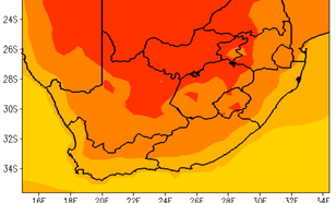 Verwachte temperatuur tegen het einde van de eeuw (ten opzichte van 1976-2005), bij een relatief gunstig broeikasgasuitstootscenario.