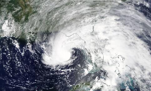 Subtropische storm Alberto, de eerste van het seizoen 2018, op 27 mei in de Golf van Mexico. Bron: Nasa Worldview.