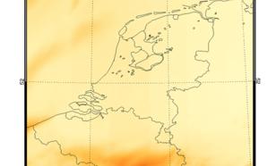 Figuur 2. Satellietmeting van de totale inkomende straling op 6 juni 2018. Heel Nederland was deze gehele dag praktisch onbewolkt