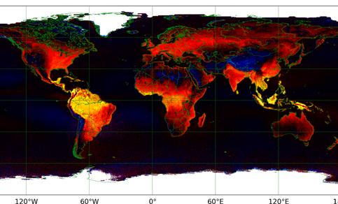 Fig. 2. Fluorescentie gezien vanuit de ruimte. Dit 2007-2016-gemiddelde is gemeten met de GOME-2 spectrometer, die elke dag de gehele aarde ziet. Tropische regenwouden, de 'longen van de aarde', zijn duidelijk zeer actief (geel). Bron: KNMI/ACSAF/EUMETSAT