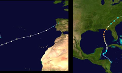 De paden van de orkanen Leslie (links) en Michael (rechts)