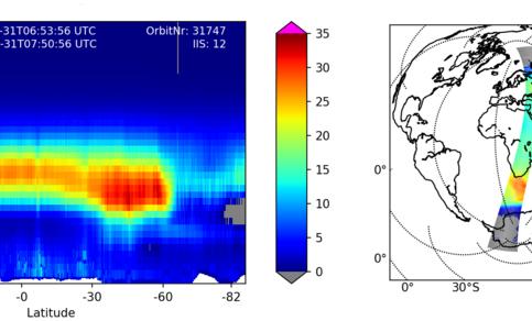 Afbeelding van het Gome-e instrument dat naar de ozonlaag kijtk. Te zien is het ozongat boven Antarctica en dat de hoeveelheid ozon drastisch vermindert.
