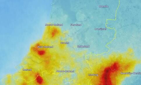 Beeld van  Nederlandse hotspots van NO2.