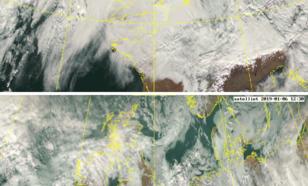 Satellietbeelden van zaterdag  5 en zondag 6 januari. Aan de noordzijde van de Alpen ontstaat stuwbewolking, aan de zuidzijde is het onbewolkt.
