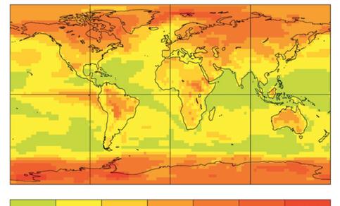 Wereldkaart van de standaard deviatie in ERA40 jaargemiddelde temperatuur. Jaar op jaar fluctuaties zijn het grootst in de poolgebieden en boven land.