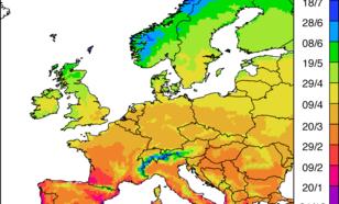 Kaart van de datum waarop de weekgemiddelde maximumtemperatuur gemiddeld voor het eerst boven de 15 graden uitkomt.