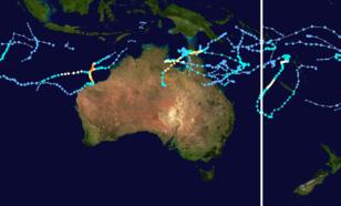 Figuur 2. Opgetreden stormen in seizoen '18/'19 in de drie regio's: het zuidwesten van de Indische Oceaan, een gebied rondom Australië en de zuidelijke Stille Oceaan.