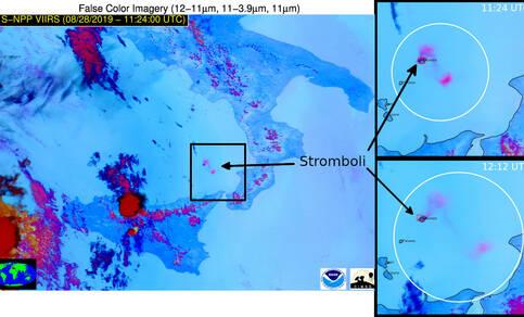 Satellietbeelden van de vulkaanuitbarsting op 28 augustus 2019