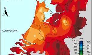 Kaart van het doorlopend potentieel neerslagoverschot (neerslag min verdamping) in het tijdvak 1 april t/m 9 september 2019.