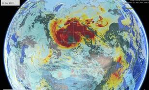 Kaart van TROPOMI satellietwaarnemingen van een grote koolmonoxide-wolk (CO) boven Siberië op 22 juli 2019.