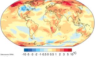 Figuur 2. Luchttemperatuurverschil tussen 2019 (jan t/m okt) en het gemiddelde van 1981–2010. Om tot de pre-industriële waarde te komen, dient er 0,6 °C bij opgeteld te worden. Bron: ECMWF ERA5 data, Copernicus Climate Change Service.