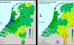 Kaart met neerslag in november 2019 en met de normale hoeveelheid neerslag in november (rechts).