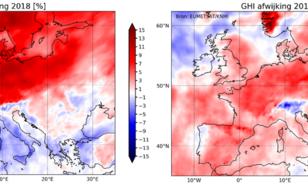 Kaart van afwijking van globale straling voor Europa en voor zowel 2018 als 2019 (beide t.o.v. 2005-2018).