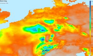 Kaart van neerslagsom 19-30 januari in stroomgebieden Maas en Rijn
