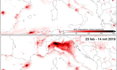 Kaart van de concentraties NO2 in Italië in de periode 23 februari tot en met 14 maart in 2019 vergeleken met dezelfde periode in 2020.