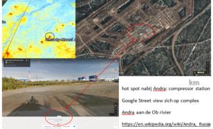 Google Earth zoom op NO2 hot spot uit figuur 1 (Andra, aan de Ob rivier). De hot spot ligt exact boven een gascompressor complex, net zoals bij alle andere hot spots uit figuur 1.