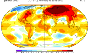 Temperatuurverschil tussen januari t/m maart 2020 en het gemiddelde van 1981–2010. Om tot de pre-industriële waarde te komen (waar het IPCC-rapport mee rekent), dient er 0,6 °C bij opgeteld te worden. Bron: NASA GISTEMP.
