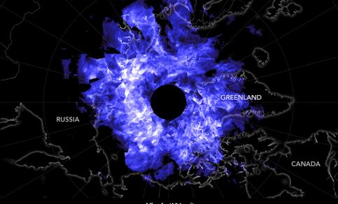 Figuur 2. Reflectie door mesosferische ijsdeeltjes op het Noordelijk halfrond op 12 juni 2019 gemeten door NASA AIM satelliet (Aeronomy of Ice particles in the Mesosphere). Bron: NASA.