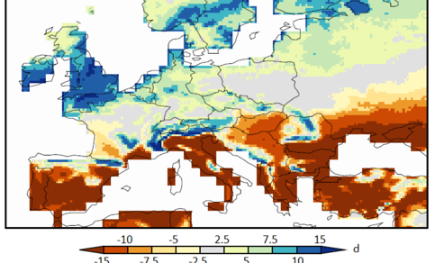 Figuur 2: Verandering van het aantal mooiweerdagen in de zomermaanden juni-juli-augustus aan het eind van de eeuw (2081-2100 t.o.v. 1986-2005, middenscenario voor broeikasgasuitstoot RCP4.5, GFDL HiFLOR klimaatmodel).