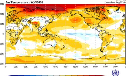 Figuur 2: Verwachte afwijking van de gemiddelde temperatuur op 2 meter tussen september en november 2020 ten opzichte van de referentieperiode 1993-2009.  Bron: ECMWF.