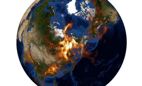 Figuur 2. Aerosol optische dikte die de verspreiding van door de branden veroorzaakte rookpluimen tot ver in de Arctische Oceaan laat zien. Bron: CAMS.