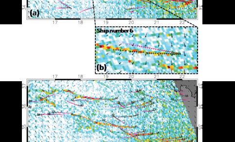 Figuur 2. (a) NO2 patronen in spiegelend zeewater, windvectoren, en scheepslocaties. (b) voorbeeld van originele (cirkels) en wind-verplaatste scheepslocatie (kruisjes). (c) als (a) maar voor de wind-verplaatste locaties van schepen langer dan 200 meter.