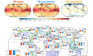 Fig. 2: Probability Ratio (PR) voor de verandering van het aantal maandelijkse hitte-extremen in een wereld met 2 °C opwarming. Uitsplitsing van totale PR (rood) in PR door verandering in gemiddelde (blauw) en PR door verandering in variabiliteit (geel).