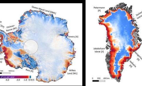 Regionale verschillen in afsmelting en aangroei op de ijskappen van Antarctica en Groenland tussen 1992 en 2017.