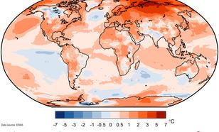Temperatuurverschil (lucht op 2m hoogte) tussen 2020 en het langjarig gemiddelde van 1981-2010. Het noorden van Siberië is 6 °C warmer dan gemiddeld.