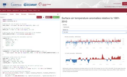 Voorbeeld van een pagina uit de Climate Data Store.