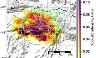 kaart met de akoestische shakemap gereconstrueerd uit infrageluid metingen. De groene lijnen geven de contour van de seismische intensiteit 5 van de eerste (onderbroken lijn) en latere (doorgetrokken lijn) seismische shakemap (figuur 3)