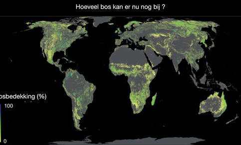 wereldkaart met daadwerkelijke ruimte voor herbebossing door van figuur 1 ruimte nu in gebruik voor steden, bos en landbouw af te trekken