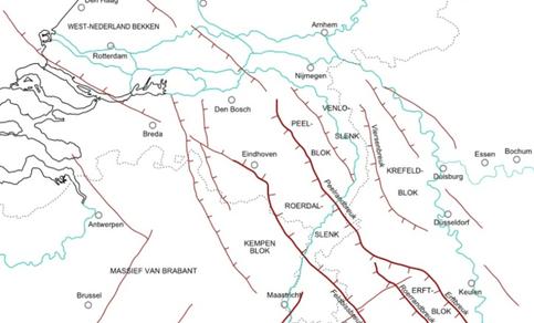 Kaart van de belangrijkste tektonische structuren in de ondergrond van zuidwestelijk Nederland, noordoostelijk België en het westen van Noordrijn-Westfalen. In het midden de Feldbissbreuk.