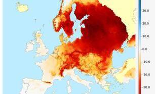 kaart met Aantal 'ijsdagen' waar de dagelijkse maximum temperatuur niet boven het vriespunt uitkomt
