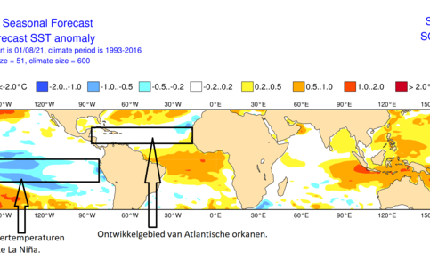 Verwachting voor de zeewatertemperaturen in september-november 2021