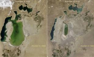 Aralmeer in 2000 en 2018