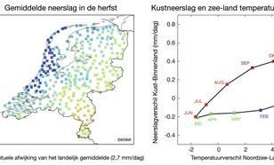 Neerslagverdeling in de herfst en relatie kustneerslag en zee-land temperatuurverschil