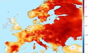 Afwijking van de jaarlijks gemiddelde temperatuur voor 2015, ten opzichte van het 1981-2010 langjarig gemiddelde Bron: KNMI