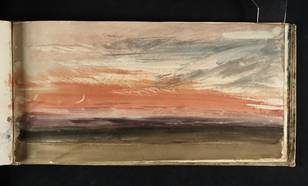 Joseph Mallord William Turner: Red Sky and Crescent Moon. Geschilderd rond 1818, kort na de grote uitbarsting van vulkaan Tambora (1815). Bron: creative commons, http://www.tate.org.uk/art/artworks/turner-red-sky-and-crescent-moon-d12502