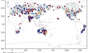 Figuur 3: trend in de logaritme van de hoogste daggemiddelde neerslag van het jaar per graad stijging van de wereldgemiddelde temperatuur. Bron: NOAA/NCEI/GHCN-D stations met minimaal 50 jaar data.