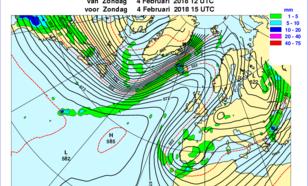Figuur 3. Stroming op ca. 5 km hoogte op 4 februari. Het gebruikelijke hogedrukgebied boven de oceaan heeft een uitloper richting Scandinavië en boven het Iberisch Schiereiland ligt een lagedrukgebied. Dit geeft aanvoer van vochtige arctische lucht.