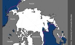 Figuur 3. Ruimtelijke verdeling Arctisch zee-ijs in maart 2018.