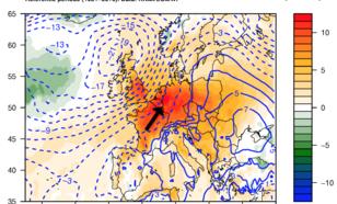 Voorspelling van maximumtemperatuur  (kleuren, Celsius) en gronddruk (contouren, mbar) anomalie voor dinsdag 18 september 2018 (ECMWF data tot 16/9 mbv KNMI Climate Explorer).