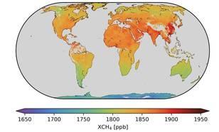 weredlkaart met eerste methaangegevens van Tropomi. Azië en de tropische breedtegraden springen er het meest uit.