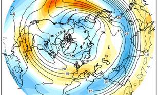 Kaart van toename westcirculatie in klimaatmodellen in 2071-2100 vergeleken met 1971-2000.