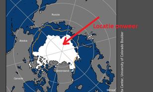 Kaart met positie van zee-ijs op 14 augustus.